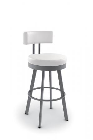 Amisco's Barry Upholstered Swivel Bar Stool with Curved Back and Round Seat Cushion