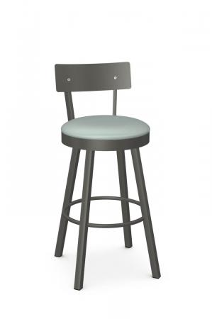 Amisco's Lauren Modern Swivel Bar Stool in Gray Metal and Seafoam Green Seat Cushion