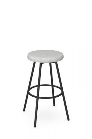 Amisco's Hans Backless Black Swivel Bar Stool with Gray White Seat