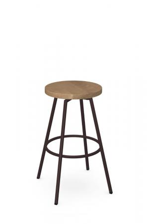 Amisco's Hans Backless Metal Swivel Bar Stool in Bronze with Wood Seat
