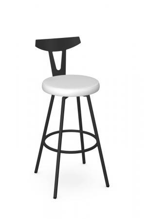 Amisco's Hans Scandinavian/Nordic Black Swivel Bar Stool with White Seat Cushion