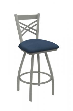 Holland's Catalina Big-And-Tall Swivel Barstool with Nickel Metal Finish and Blue Seat Vinyl