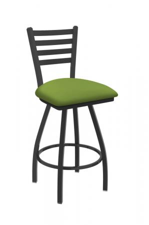 Holland's Jackie Big and Tall Swivel Bar Stool with Horizontal Slats on Back in Pewter Metal Finish and Canter Kiwi Green vinyl seat cushion