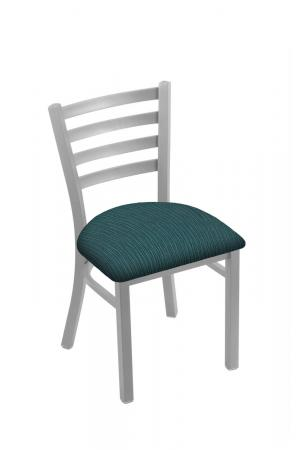 Holland's #400 Jackie Dining Chair in Nickel Metal Finish and Teal Seat Cushion