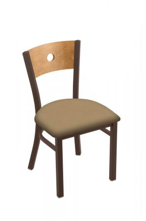 Holland Voltaire #630 Dining Chair in Bronze Metal Finish, Medium Maple Wood Back, and Brown Seat Cushion